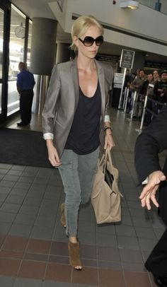 Charlize Theron is one of my style icons. Love the skinny cargo pants :)