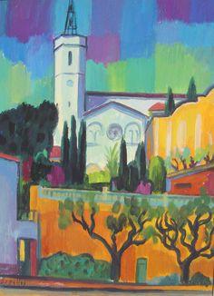 Iglesia de Caldetas, 23 x 35 cm  Gouache sobre papel, 2013 Guillermo Martí Ceballos