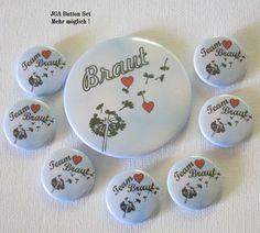 JGA Button Set Pusteblume – Braut & Team Braut - Kreawusel-handmade