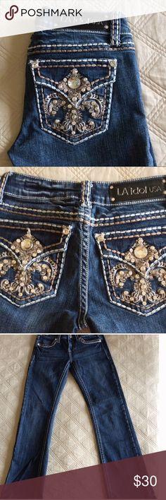 61026df4 LA IDOL JEANS Beautiful bling LA Idol Jeans, Size 1 W:27 in great