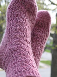 Ravelry: Polly Jean pattern by MJ Kim free lace sock pattern Loom Knitting, Knitting Stitches, Knitting Socks, Knitting Patterns Free, Knit Patterns, Free Knitting, Free Pattern, Lace Socks, Crochet Socks