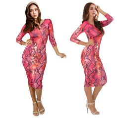 2015 Women Sexy summer gold leopard Club Wear Snake Color Print slim elastic Bodycon Long Sleeve Dress Evening Party