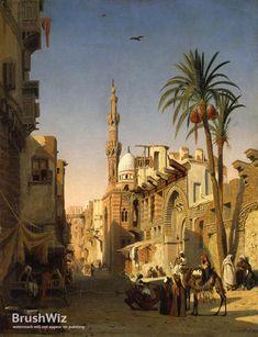 Egypt , Old Cairo Paintings: Prosper Georges Antoine Marilhat (French, - Elizbeka Street, Cairo Old Egypt, Ancient Egypt, Cairo Egypt, Islamic World, Islamic Art, Art Arabe, Empire Ottoman, Arabian Art, Islamic Paintings