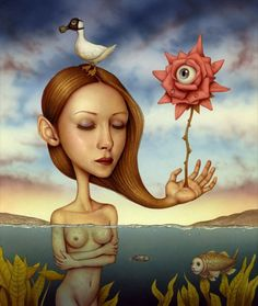 Painting by Naoto Hattori , Eye (The duck on her head wears a gasmask, it made me smile)