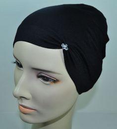 New Cotton Lycra Under Scarf Shawl Hijab Chemo Cap Hat Bonnet Swarovski Black Hijab Caps, Beat Cancer, Caps Hats, Wigs, Swarovski, Baseball Hats, Womens Fashion, Cotton, Turbans