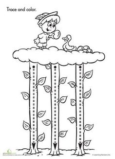 Preschool Fairy Tales Fine Motor Skills Worksheets: Trace & Color: Jack and the Beanstalk Worksheet Fairy Tale Activities, Book Activities, Preschool Activities, Nursery Rhyme Crafts, Nursery Rhymes Preschool, Pre Writing, Writing Practice, Fairy Tales Unit, Fairy Tale Theme