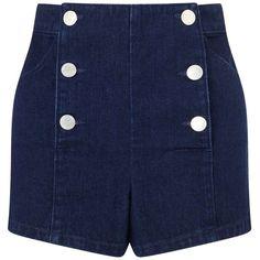 Miss Selfridge Petites Indigo Sailor Short ($32) ❤ liked on Polyvore featuring shorts, short, indigo, petite, high waisted cotton shorts, high-rise shorts, high-waisted shorts, cotton shorts and denim short shorts