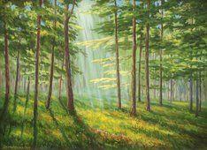 ζωγραφική δάσος οξιών