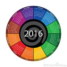 Colorful Round Calendar For 2016 Year. - Download From Over 38 Million High Quality Stock Photos, Images, Vectors. Sign up for FREE today. Image: 46460898