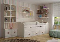 Dormitorio juvenil con cama nido de tipo barco Decoracin