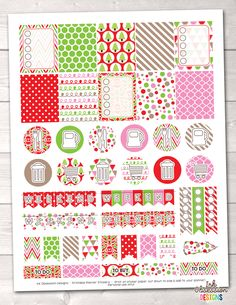 Christmas Red Green Pink Printable Planner Stickers Weekly Kit – Instant Download PDF for your Erin Condren Life Planner