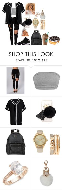 """Jersey Team"" by duhhqueen ❤ liked on Polyvore featuring Stampd, GET LOST, Ashlyn'd, MCM, Adrienne Vittadini, Saks Fifth Avenue and Natasha"