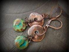 Aged Copper Mykonos Ceramic Discs, Czech Picasso Glass,Copper Beaded Earrings by YuccaBloom on Etsy https://www.etsy.com/listing/216976053/aged-copper-mykonos-ceramic-discs-czech