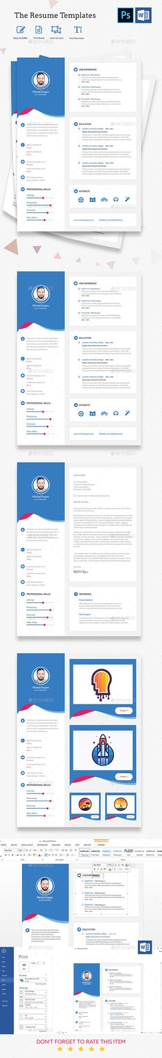 Ansel - Photoshop Resume Template Creative, Creativemarket and - photoshop resume templates