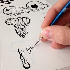 started on a long day of fine line work. Using ink and a liner brush, as… Graffiti Drawing, Graffiti Lettering, Typography Letters, Graffiti Nails, Types Of Lettering, Hand Lettering, Art Sketches, Art Drawings, Dibujos Zentangle Art
