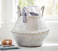Large Silver Metallic Basket