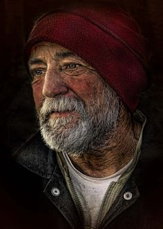 ♂ Portrait Man with red hat homeless maybe?