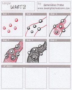 Zentangle Patterns | Wartz - Genevieve Crabe #zentangle