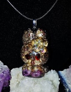 Hello Kitty Orgonite Pendant, Reiki Infused Orgonite Jewelry, Spiritual aid for Meditation, Jewelry for the Soul, Playful Jewelry