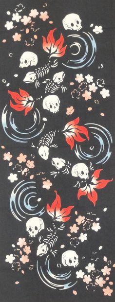 Tenugui Japanese Fabric 'Skulls and Goldfish by kyotocollection, $16.00