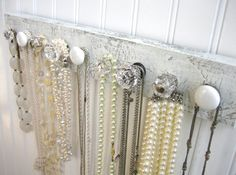 White and Clear Wall Mounted Jewelry Organizer with Nine Knobs on Etsy, $49.59 AUD