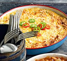 Diced green chile peppers give this baked and cheesy dish character with some hotness. Easy Potluck Recipes, Cheesy Recipes, Corn Recipes, Side Dish Recipes, Vegetable Recipes, Great Recipes, Side Dishes, Cooking Recipes, Potluck Ideas