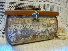 Vintage Anton Pieck Decoupage Ladies Wood Purse signed
