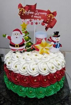 Christmas Themed Cake, Christmas Cake Designs, Christmas Deserts, Christmas Cake Decorations, Christmas Cupcakes, Christmas Treats, Sprinkle Wedding Cakes, Cake Piping, Cake Decorating Techniques