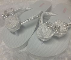 Bridal Flip Flops / White Rolled Flowers Flip by RossyAccesorios, $40.99
