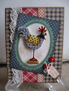 Get Well Soon - I have a lot of chicken stamps and I love making chicken cards. Atc Cards, Cricut Cards, Sympathy Cards, Card Tags, Gift Tags, Chicken Crafts, Farm Chicken, Chicken Chick, Scrapbook Cards
