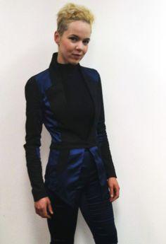 Editor of Ragtrader, Assia Benmedjdoub, wearing Lauren Damelian 'Natural Energy' jacket and 'Caught In Your Web' pants in marine
