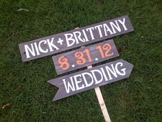 Names Date Wedding Sign Reception Signs. Parking Signs. Restrooms Sign. Cocktails sign Outdoor Wedding Decorations Fall Orange Wedding on Etsy, $75.00