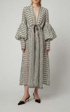 Cutout Striped Wool-Blend Dress by Rosie Assoulin Iranian Women Fashion, Muslim Fashion, Womens Fashion, Stylish Dresses, Casual Dresses, Fashion Dresses, Stripes Fashion, Striped Dress, Cotton Dresses