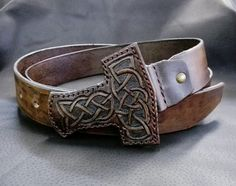 #SouthCrafting #leather #craft #mjolnir #viking Harsh northern belt from sturdy leather and unique leather hand-stamped buckle