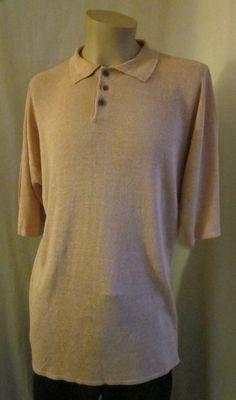e41772f72 CYPRESS GROVE Men's Peach 100% LINEN Knit Polo Shirt M Medium #CypressGrove  #PoloRugby