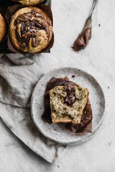 nutella swirled banana muffins.
