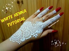 How to apply easy simple strip(bail) WHITE henna mehndi designs on hands for eid weddings tutorial - Golecha Henna, White Henna Tattoo, Red Henna, Mehndi Tattoo, Pretty Henna Designs, Full Mehndi Designs, Henna Designs Easy, Mehandi Designs, Hena Designs