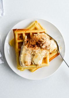 Mitzy At Home:Crispy waffles with bananas baked in ricotta - Mitzy At Home