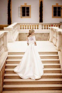 Bride, wedding dress, castle