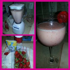 Frozen strawberry lemonade with vodka Frozen Strawberry Lemonade, Frozen Strawberries, Margarita, Glass Of Milk, Spin, Vodka, Tableware, Food, Dinnerware