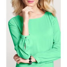Ann Taylor Mint Blouse A simply-must-have popover style, clad in unforgettably lush color. Jewel neck. Long sleeves with button closure. Shirttail hem. 100% polyester, machine wash cold. Worn a few times. Bright mint color, greenish blue. Ann Taylor Tops Blouses