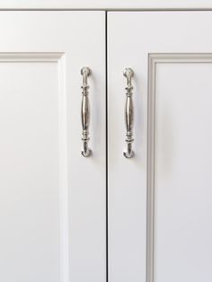 Tips for Choosing Cabinetry Hardware. Bathroom remodel with new polished nickel hardware. Kitchen Cabinets Light Wood, White Bathroom Cabinets, Kitchen Cabinet Knobs, Kitchen Hardware, Bathroom Hardware, Kitchen Fixtures, Cabinet Hardware, Knobs And Pulls, Home Decor Inspiration