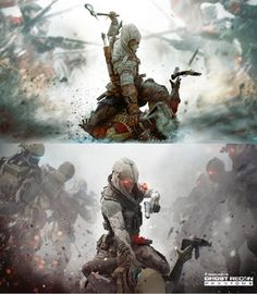 Spot the Differences! Funny Gaming Memes, Funny Games, Video Game Posters, Video Games, Arte Emo, Future Soldier, One Piece Manga, Geek Out, Assassins Creed