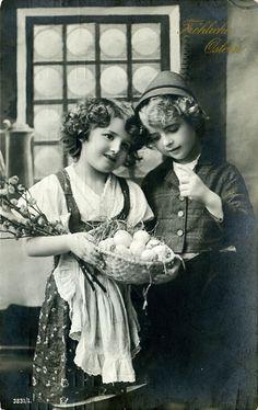 Happy Easter vintage photo postcard