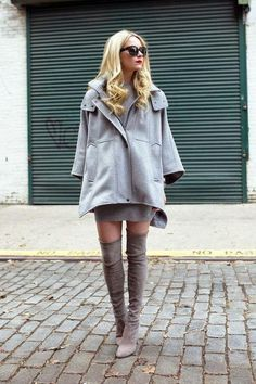 How to wear thigh-high, over-the-knee boots: pair with a shirt skirt or dress for a flirty look. Click for more!