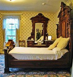 A Bedroom in the Lizzie Borden House - this is the bedroom where her stepmother was killed. Might do a room up like this??