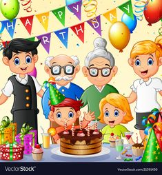 Happy family celebrating birthday vector image on VectorStock Art Drawings For Kids, Drawing For Kids, Art For Kids, Elementary Drawing, Book Birthday Parties, Celebration Chocolate, Kindergarten Anchor Charts, Environment Painting, Kids Reading Books