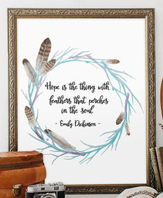 I wish I had an amazing printer so I could download this. Feather Quote Art Print Wall Decor Printable by TwoBrushesDesigns