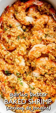 Shrimp de Jonghe, or Garlic Butter Baked Shrimp, is an unbelievably good vintage recipe! You're going to love this easy shrimp appetizer topped with herbed butter and baked to a flavorful perfection! #shrimp #appetizer