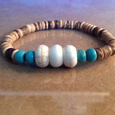 White & Teal Green Magnesite with Tiger Wood Beaded Bracelet by CVioletJewelry
